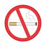 Σημάδι απαγόρευσης του καπνίσματος στην άσπρη ανασκόπηση διανυσματική απεικόνιση