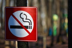 Σημάδι απαγόρευσης του καπνίσματος στο πάρκο Έννοια καπνίσματος στάσεων, κάπνισμα ελεύθερο στοκ φωτογραφία