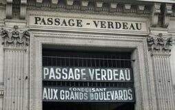 Σημάδι για τη μετάβαση Verdeau, Παρίσι Γαλλία Στοκ φωτογραφίες με δικαίωμα ελεύθερης χρήσης
