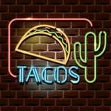 Σημάδι διαφήμισης νέου Tacos διανυσματική απεικόνιση