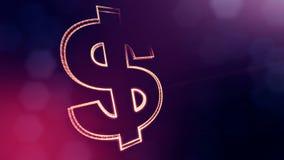 Σημάδι δολαρίων και έμβλημα ενός επιχειρηματία Υπόβαθρο χρηματοδότησης των φωτεινών μορίων τρισδιάστατη ζωτικότητα βρόχων με το β απόθεμα βίντεο