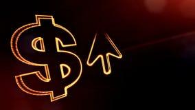 Σημάδι δολαρίων και έμβλημα του βέλους Υπόβαθρο χρηματοδότησης των φωτεινών μορίων τρισδιάστατη ζωτικότητα βρόχων με το βάθος του απόθεμα βίντεο