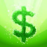 Σημάδι δολαρίων φυσαλίδων σε ένα πράσινο υπόβαθρο στοκ φωτογραφία με δικαίωμα ελεύθερης χρήσης