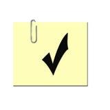 Σημάδι ελέγχου στην κολλώδη σημείωση Ελεύθερη απεικόνιση δικαιώματος