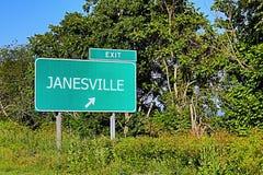 Σημάδι εξόδων αμερικανικών εθνικών οδών για Janesville στοκ εικόνα