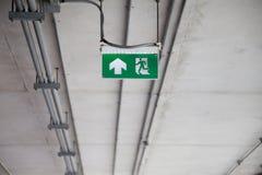 Σημάδι εξόδων πυρκαγιάς στην οικοδόμηση Στοκ Φωτογραφίες