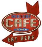 Σημάδι εστιατορίων καφέδων γευματιζόντων ακρών του δρόμου διανυσματική απεικόνιση