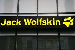 Σημάδι, ετικέτα του εξοπλισμού γρύλων wolfskin για την υπαίθρια GmbH Στοκ φωτογραφία με δικαίωμα ελεύθερης χρήσης