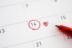 Σημάδι ημέρας βαλεντίνων ` s στο ημερολόγιο Στοκ εικόνες με δικαίωμα ελεύθερης χρήσης