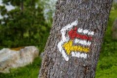 Σημάδι ιχνών τουριστών πεζοπορίας Στοκ φωτογραφία με δικαίωμα ελεύθερης χρήσης