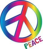 Σημάδι και κείμενο ειρήνης ουράνιων τόξων Στοκ εικόνες με δικαίωμα ελεύθερης χρήσης