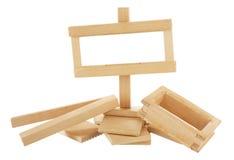 σημάδι κατασκευής κάτω από ξύλινο Στοκ Εικόνες