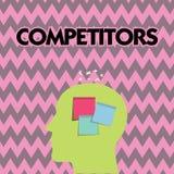 Σημάδι κειμένων που παρουσιάζει ανταγωνιστές Τα εννοιολογικά πρόσωπα φωτογραφιών συμμετέχουν στον αθλητικό εμπορικό ανταγωνισμό δ απεικόνιση αποθεμάτων