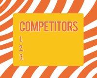 Σημάδι κειμένων που παρουσιάζει ανταγωνιστές Τα εννοιολογικά πρόσωπα φωτογραφιών συμμετέχουν στον αθλητικό εμπορικό ανταγωνισμό δ διανυσματική απεικόνιση