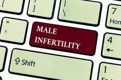 Σημάδι κειμένων που παρουσιάζει αρσενική στειρότητα Εννοιολογική ανικανότητα φωτογραφιών ενός αρσενικού να προκαλέσει την εγκυμοσ στοκ εικόνα