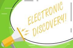 Σημάδι κειμένων που παρουσιάζει ηλεκτρονική ανακάλυψη Εννοιολογική α διανυσματική απεικόνιση