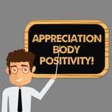 Σημάδι κειμένων που παρουσιάζει θετική σκέψη σώματος εκτίμησης Εννοιολογικές αποδοχή φωτογραφιών και εκτίμηση της στάσης ατόμων τ απεικόνιση αποθεμάτων