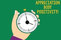 Σημάδι κειμένων που παρουσιάζει θετική σκέψη σώματος εκτίμησης Εννοιολογικές αποδοχή φωτογραφιών και εκτίμηση της ανάλυσης της HU διανυσματική απεικόνιση