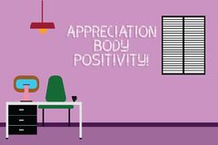 Σημάδι κειμένων που παρουσιάζει θετική σκέψη σώματος εκτίμησης Εννοιολογικές αποδοχή φωτογραφιών και εκτίμηση του διαστήματος εργ απεικόνιση αποθεμάτων