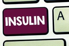 Σημάδι κειμένων που παρουσιάζει ινσουλίνη Η εννοιολογική πρωτεϊνική παγκρεατική ορμόνη φωτογραφιών ρυθμίζει τη γλυκόζη στο αίμα στοκ εικόνα