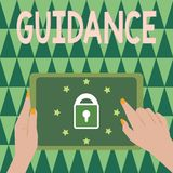 Σημάδι κειμένων που παρουσιάζει καθοδήγηση Εννοιολογικές συμβουλές ή πληροφορίες φωτογραφιών που στοχεύουν στην επίλυση του προβλ απεικόνιση αποθεμάτων