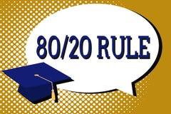 Σημάδι κειμένων που παρουσιάζει κανόνα 80 20 Η εννοιολογική αρχή του Παρέτου φωτογραφιών αποτελέσματα 80 τοις εκατό προέρχεται απ διανυσματική απεικόνιση
