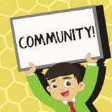 Σημάδι κειμένων που παρουσιάζει Κοινότητα Εννοιολογικές νεολαίες ομάδας ενότητας συμμαχίας κρατικών συνεταιρισμών ένωσης γειτονιά απεικόνιση αποθεμάτων