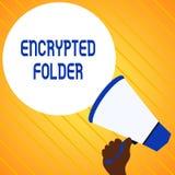 Σημάδι κειμένων που παρουσιάζει κρυπτογραφημένο φάκελλο Η εννοιολογική φωτογραφία προστατεύει τα εμπιστευτικά στοιχεία από τους ε απεικόνιση αποθεμάτων