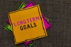 Σημάδι κειμένων που παρουσιάζει μακροπρόθεσμους στόχους Ο εννοιολογικός στρατηγικός στόχος φωτογραφιών που απαιτείται περισσότερο στοκ εικόνες