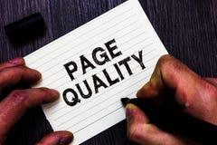 Σημάδι κειμένων που παρουσιάζει ποιότητα σελίδων Εννοιολογική αποτελεσματικότητα φωτογραφιών ενός ιστοχώρου από την άποψη του δεί στοκ εικόνα με δικαίωμα ελεύθερης χρήσης