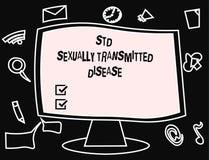 Σημάδι κειμένων που παρουσιάζει πρότυπα σεξουαλικά - διαβιβασθείσα ασθένεια Εννοιολογική μόλυνση φωτογραφιών που διαδίδεται από τ απεικόνιση αποθεμάτων