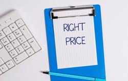 Σημάδι κειμένων που παρουσιάζει σωστή τιμή Εννοιολογική φωτογραφία το χρηματικό ποσό ότι είναι λογικό για το προϊόν στοκ εικόνα με δικαίωμα ελεύθερης χρήσης