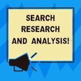 Σημάδι κειμένων που παρουσιάζει την έρευνα και ανάλυση αναζήτησης Εννοιολογικό Megaphone analytics πληροφοριών στοιχείων έρευνας  διανυσματική απεικόνιση