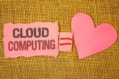 Σημάδι κειμένων που παρουσιάζει υπολογισμό σύννεφων Εννοιολογικός φωτογραφιών σε απευθείας σύνδεση πληροφοριών αποθήκευσης εικονι Στοκ εικόνα με δικαίωμα ελεύθερης χρήσης