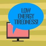 Σημάδι κειμένων που παρουσιάζει χαμηλή ενεργειακή κούραση Το εννοιολογικό υποκειμενικό συναίσθημα φωτογραφιών της κούρασης που έχ απεικόνιση αποθεμάτων