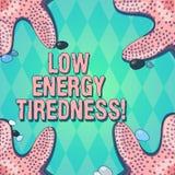Σημάδι κειμένων που παρουσιάζει χαμηλή ενεργειακή κούραση Εννοιολογικό υποκειμενικό συναίσθημα φωτογραφιών της κούρασης που έχει  ελεύθερη απεικόνιση δικαιώματος