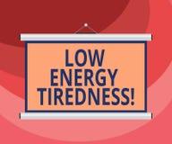 Σημάδι κειμένων που παρουσιάζει χαμηλή ενεργειακή κούραση Εννοιολογικό υποκειμενικό συναίσθημα φωτογραφιών της κούρασης που έχει  απεικόνιση αποθεμάτων