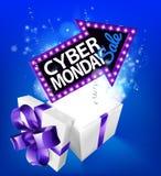 Σημάδι κιβωτίων δώρων πώλησης Δευτέρας Cyber Στοκ Εικόνες