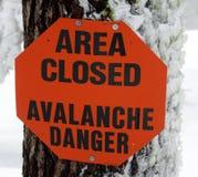 σημάδι κινδύνου χιονοστι Στοκ Φωτογραφίες