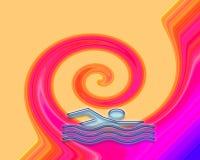 Σημάδι κολυμβητών με τα κύματα Ελεύθερη απεικόνιση δικαιώματος