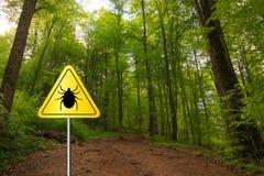 Σημάδι κροτώνων σε ένα πράσινο δάσος στοκ εικόνα