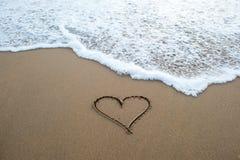Σημάδι μορφής καρδιών στην άμμο Στοκ Εικόνες