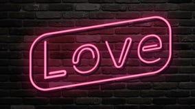 Σημάδι νέου, η αγάπη λέξης στο σκοτεινό υπόβαθρο Στοιχείο σχεδίου για τον ευτυχή βαλεντίνο ελεύθερη απεικόνιση δικαιώματος