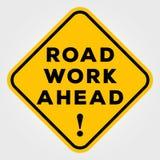 Σημάδι οδικής εργασίας μπροστά που απομονώνεται στο άσπρο υπόβαθρο επίσης corel σύρετε το διάνυσμα απεικόνισης ελεύθερη απεικόνιση δικαιώματος