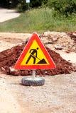 Σημάδι οδικών εργασιών για τις οικοδομές, δρόμος, κατασκευή πεζοδρομίων Κυκλοφορία, δρόμος προειδοποιητικών σημαδιών που επισκευά Στοκ Εικόνες