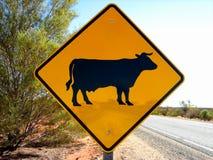σημάδι οδοστρωμάτων βοοειδών στοκ εικόνες με δικαίωμα ελεύθερης χρήσης