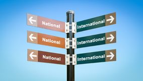 Σημάδι οδών διεθνής εναντίον εθνικός στοκ φωτογραφία με δικαίωμα ελεύθερης χρήσης