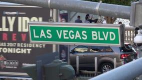 Σημάδι οδών λεωφόρων του Λας Βέγκας στη λουρίδα - ΗΠΑ 2017 απόθεμα βίντεο