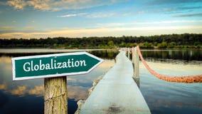 Σημάδι οδών στην παγκοσμιοποίηση στοκ φωτογραφία