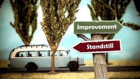 Σημάδι οδών στη βελτίωση εναντίον του σταματήματος στοκ εικόνες